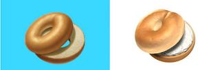 Bagel Emoji voor en na