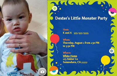 Evite monster birthday party theme invitation