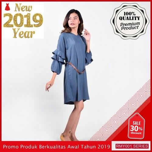 RMY028D33 Dress Tangan Panjang Creepe Keren Trendy BMGShop