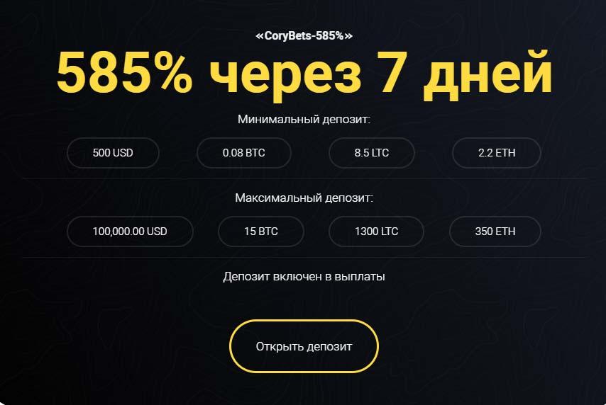 Инвестиционные планы CoryBets 7