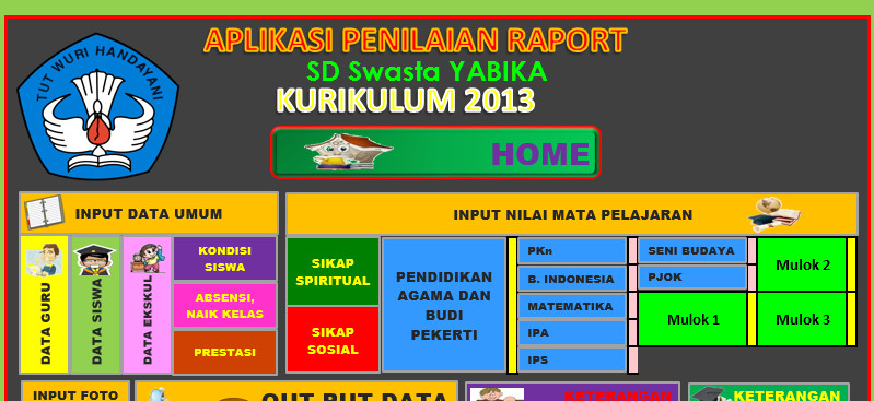 Aplikasi Raport Kurikulum 2013 SD kelas 1 semester 1 & 2 Berbasis Excel
