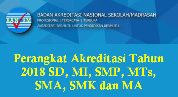 Perangkat Akreditasi Tahun 2018 SD, MI, SMP, MTs, SMA, SMK dan MA
