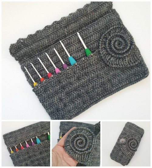 Ammonite Crochet Hook Roll - Free Pattern