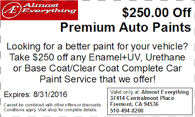 Discount Coupon $250 Off Premium Auto Paint Sale August 2016