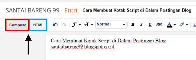 Kotak Script di Dalam Postingan Blog