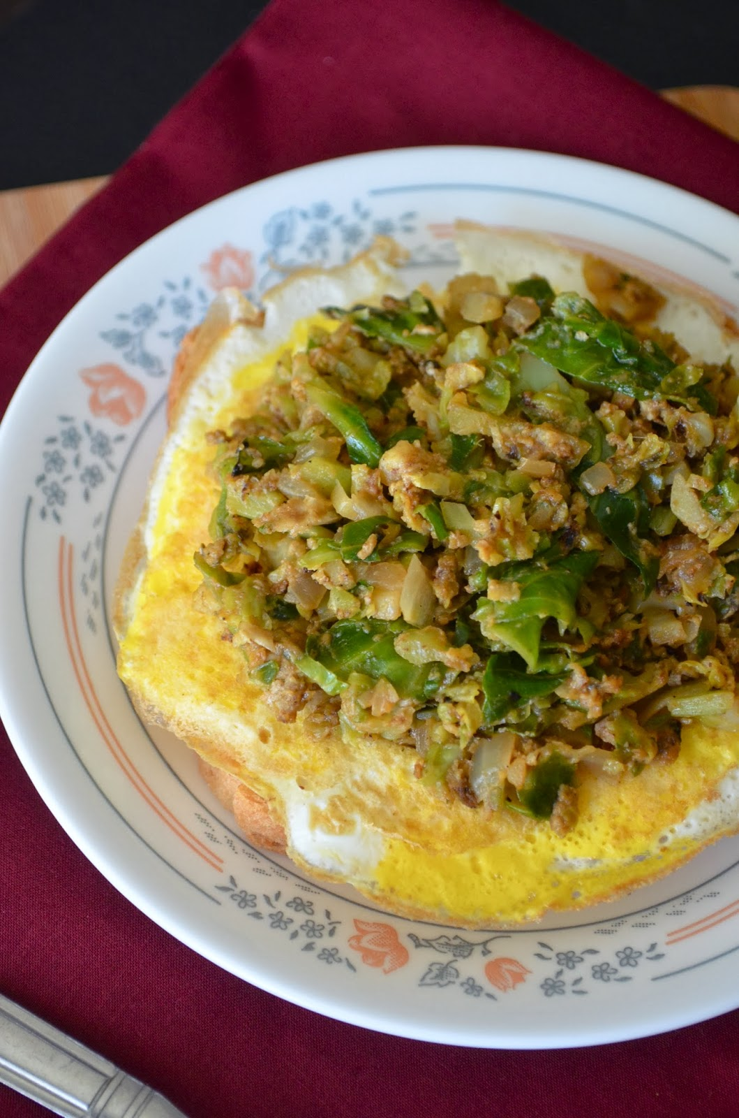 Dishing With Divya: Brussels Sprouts with Plain Omelette