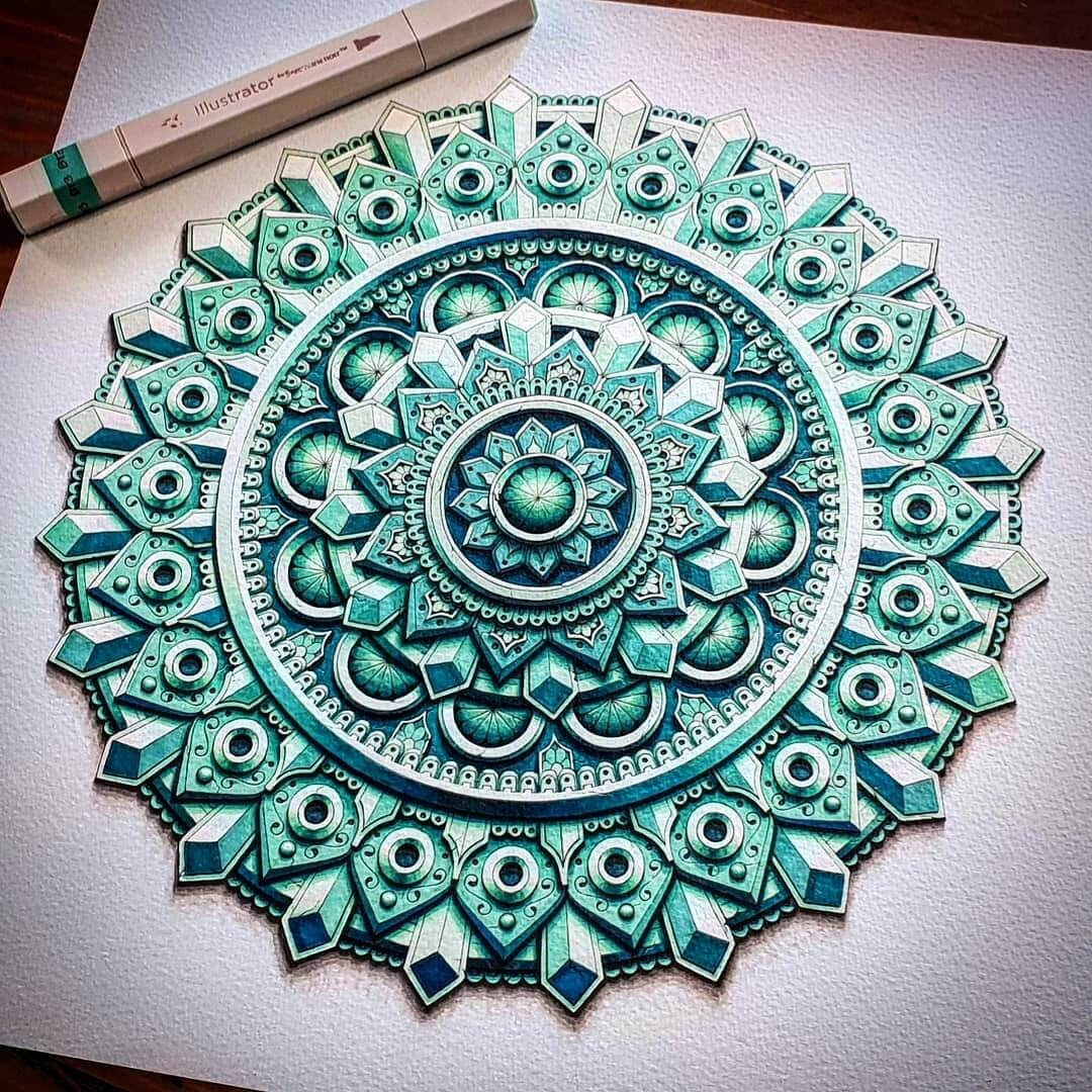 02-Green-Medallion-Baz-Furnell-3D-Looking-Mandala-Drawings-www-designstack-co