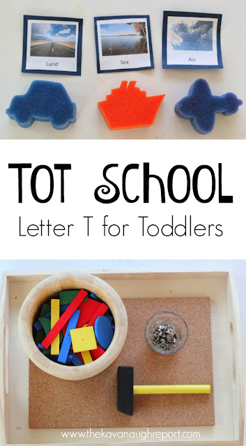 Ideas for toddlers to explore the letter T. This tot school unit explores tools, tigers, tweezers, transportation and more!