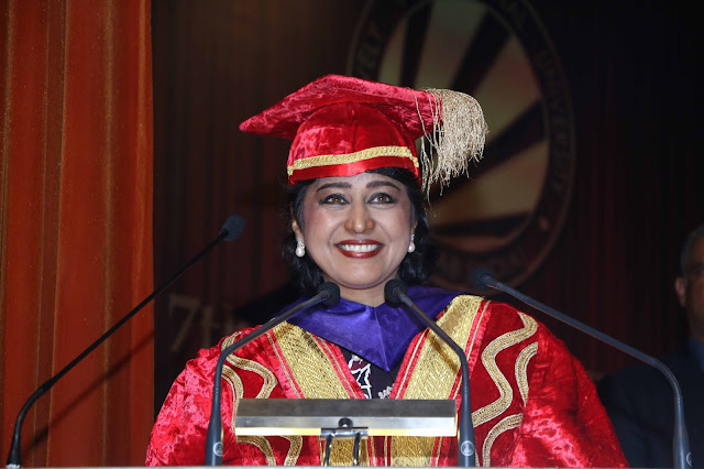 Her Excellency Dr Ameenah Gurib-Fakim, President of the Republic of Mauritius addressing the students during 7th Convocation at LPU.