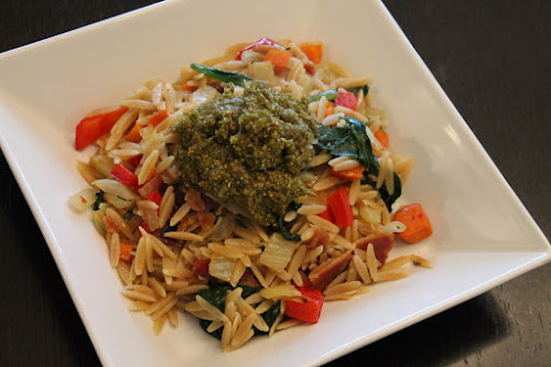 Smoky Orzo and Vegetable Bowl with Pistachio Pesto