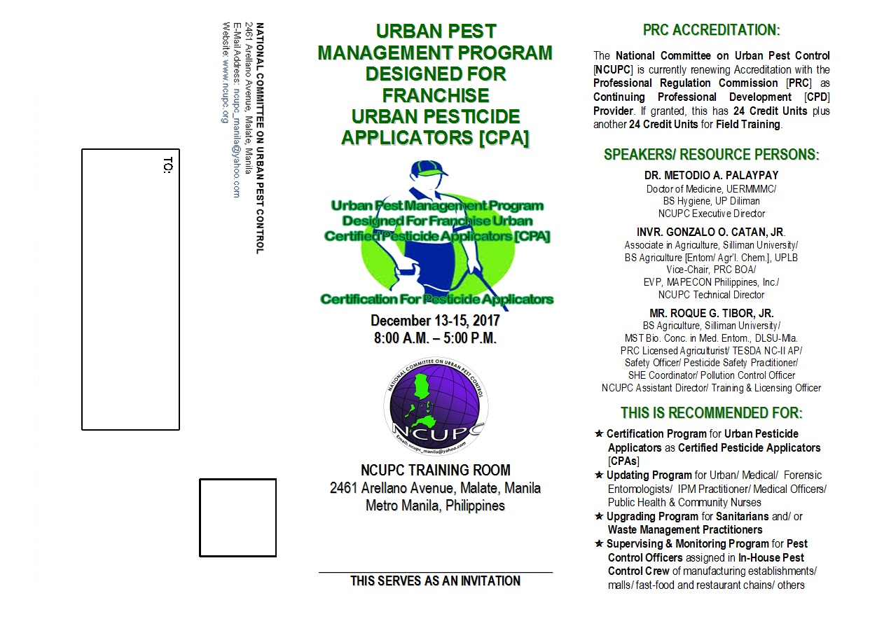National committee on urban pest control training institute for further inquiries and details of the training please call the ncupc secretariat at tel no 02 484 02 08 look for technical assistant marlon j 1betcityfo Image collections