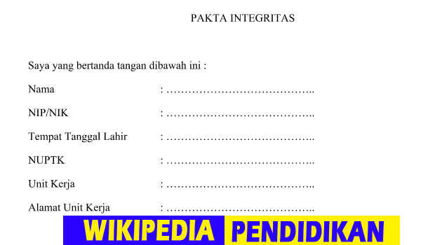 Download Gratis Pakta Integritas Calon Sertifikasi Guru 2016