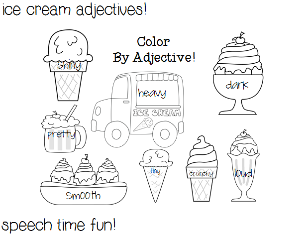 Reading Comprehension Stories: Ice Cream Adjectives! ((and