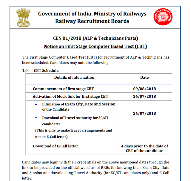 RRB Railway ALP Technician 2018 First Stage Exam Start from 09 August 2018 | Download now rrbbnc.gov.in