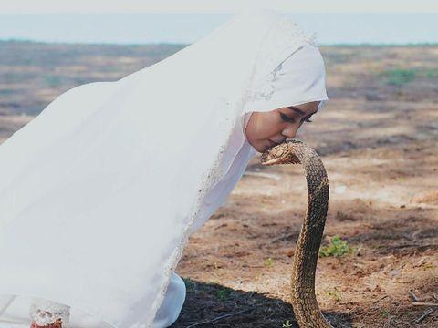 Pasangan Pengantin Ini Ingin Foto Dengan Ular Kobra Hingga Dijaga 15 Pawang