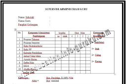 Download Format Instrumen Supervisi Administrasi Guru dan Kepala Sekolah