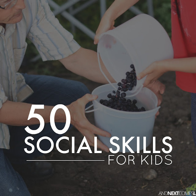 List of social skills to teach your kids with a free printable social skills cheat sheet from And Next Comes L