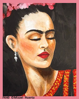 ultra feminine frida kahlo painting fabric