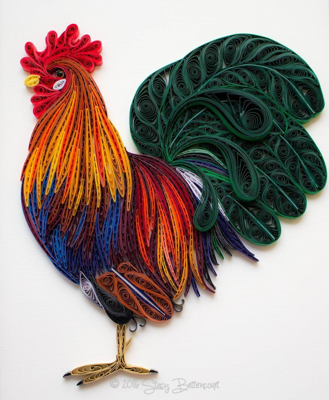 11-Rooster-Stacy-Bettencourt-Quilling-Animals-and-Game-of-Thrones-www-designstack-co