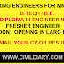 Apply Both Fresher and Experienced Civil Mechanical and Electric Engineer