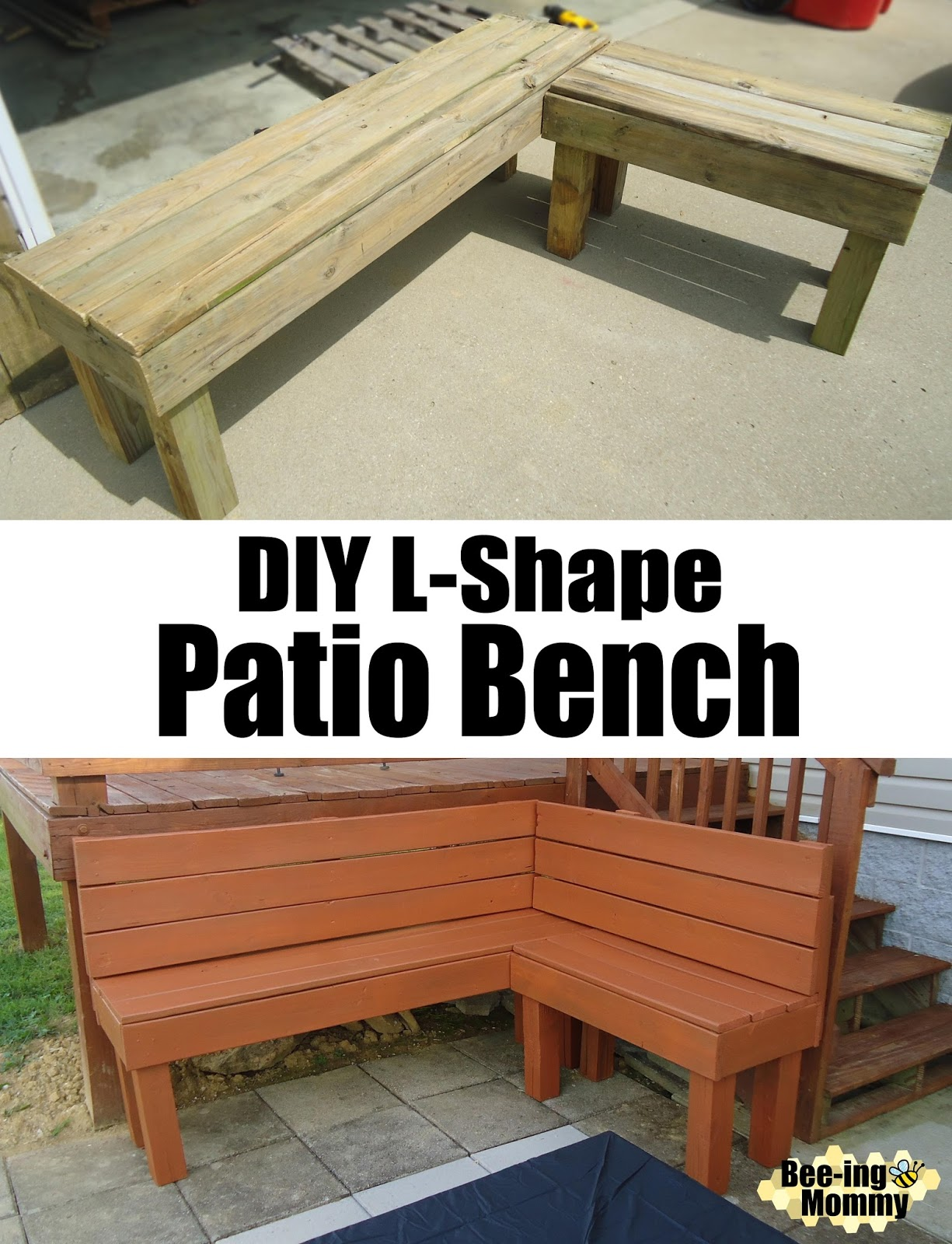 Making A Patio With Stones: DIY L-Shape Patio Bench