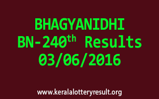 BHAGYANIDHI Lottery BN 240 Results 3-6-2016