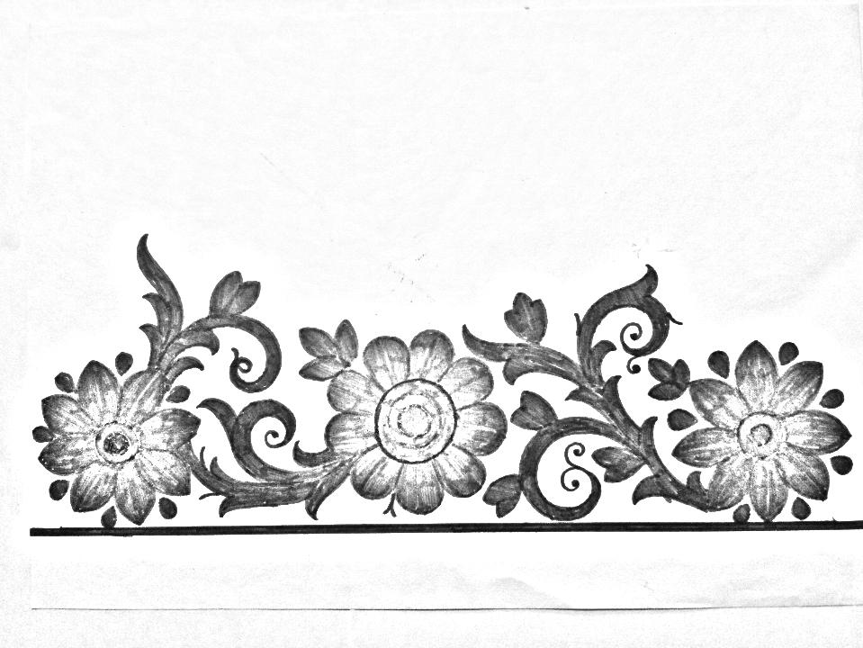 Flowers Border Design Drawing Easy