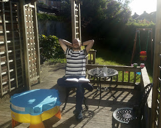 A sight not often seen; my best mate enjoying the sun