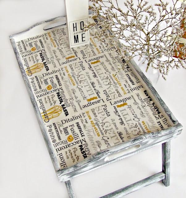 taca do łóżka śniadaniowa z włoskim motywem - taca decoupage Eco Manufaktura