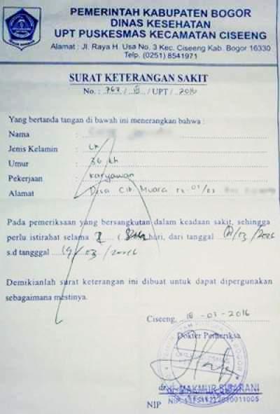 contoh surat keterangan sakit dari dokter puskesmas