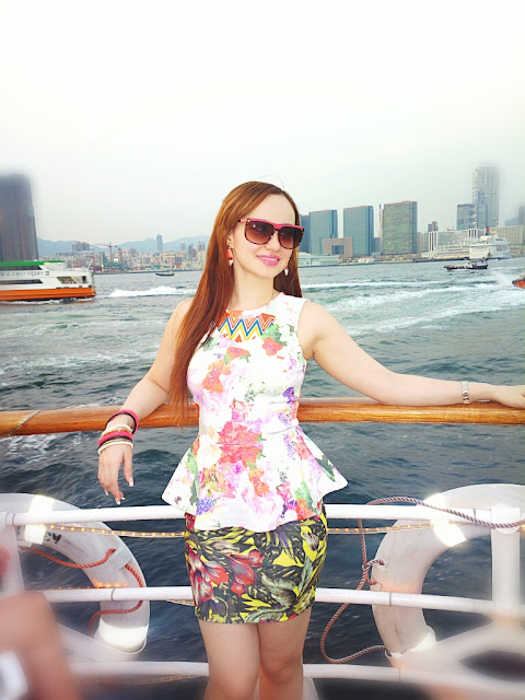 H&M Floral Peplum Top with a Zara Tropical Print Skirt on the Hong Kong harbour Cruise