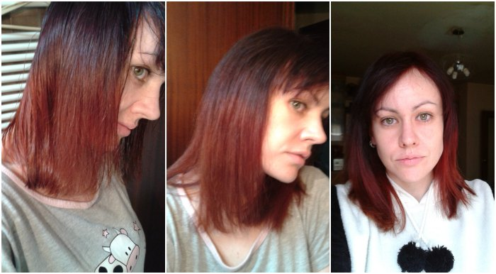 Puntas californianas rojas en cabello corto