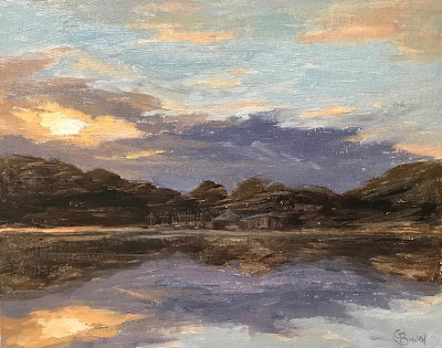 #164 'Sunset, Frensham Pond' 9.5×12″