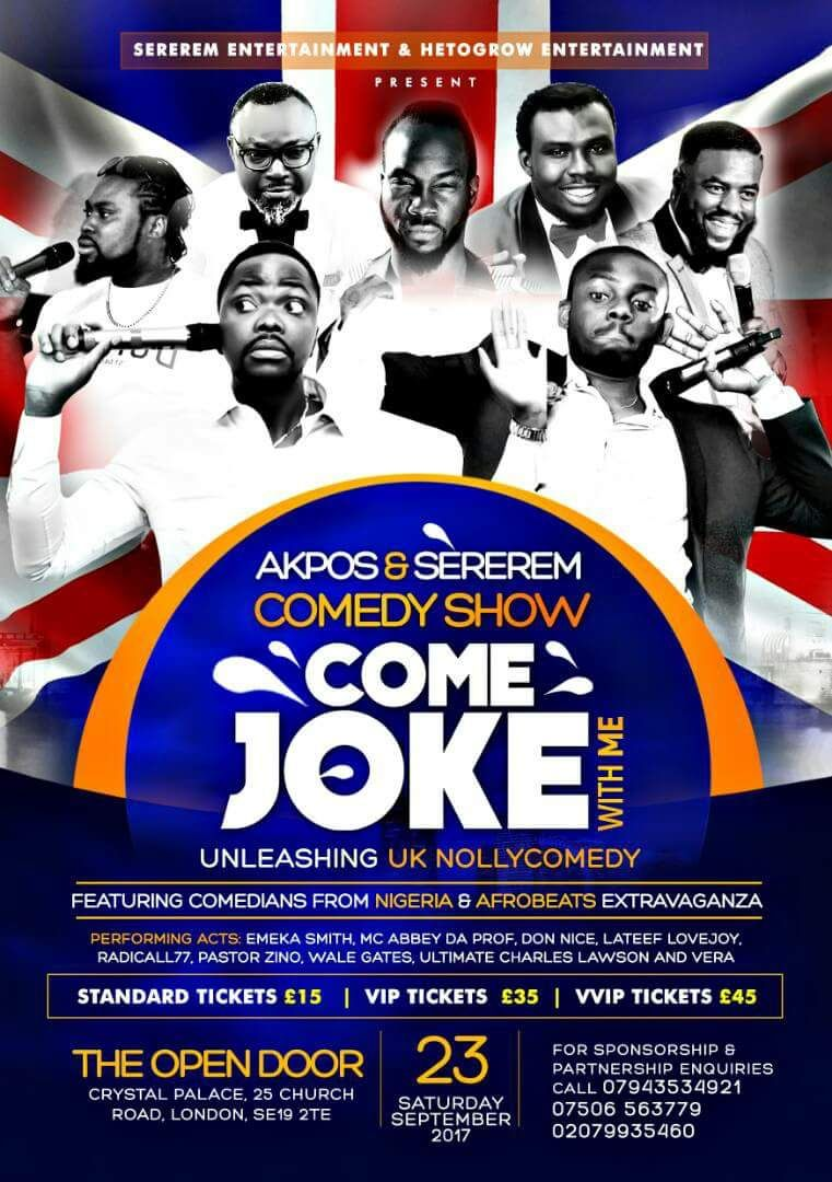 Sat/23/Sept: Akpos & Sererem's COME JOKE WITH ME Comedy Show @The Open Door, London