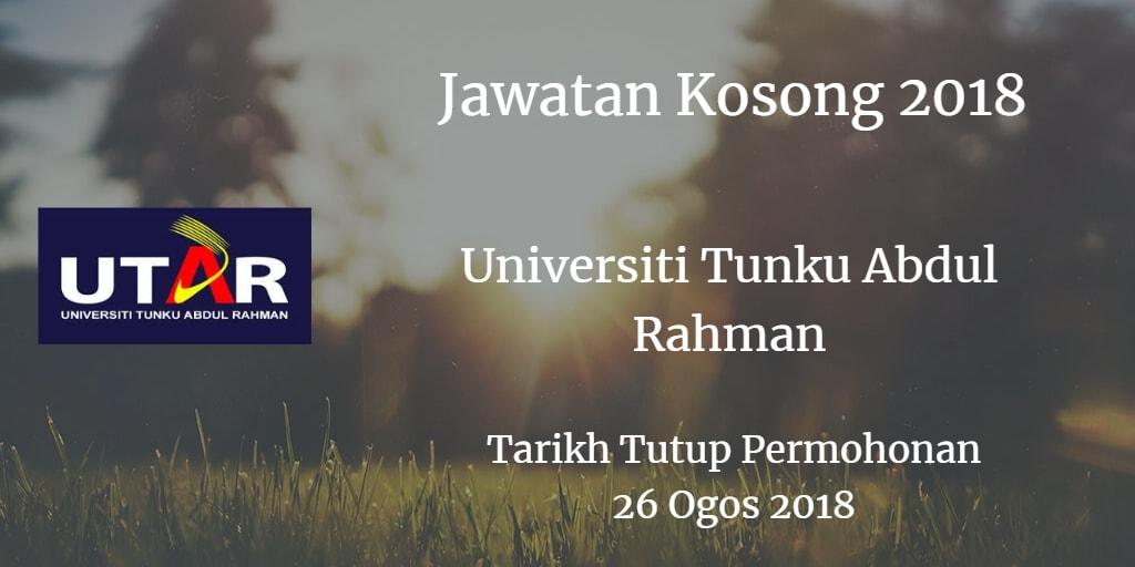 Jawatan Kosong UNIVERSITI TUNKU ABDUL RAHMAN 26 Ogos 2018