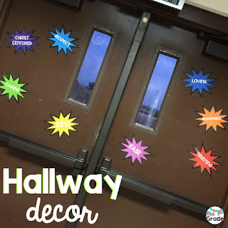 Keeping all areas of our hallway decorated and in line with what we are working on is a great way to build school excitement for classroom themes or spirit days