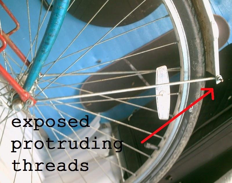 exposed sharp threaded fender mounts