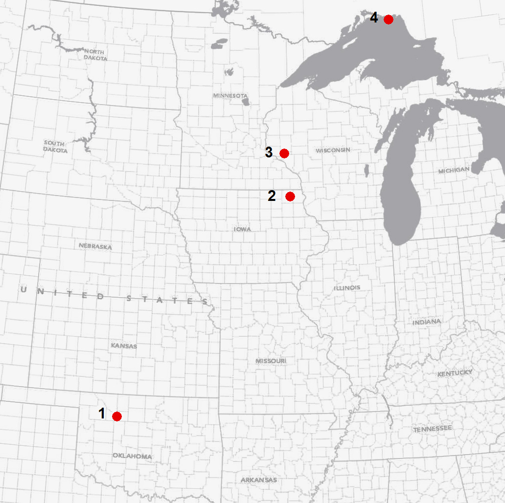 a map of the potential middle ordovician impacts in central north america from wikipedia 2 is the decorah crater and 3 is the rock elm crater