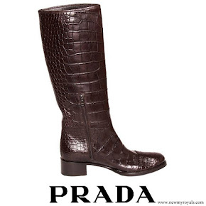 Crown Princess Mette-Marit wore Prada Brown Knee High Crocodile Boots