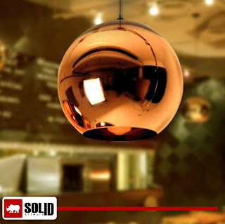 Copper round mirror pendant lamp