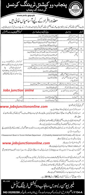 Punjab Vocational Training Council PTVC Jobs 2019 | Latest Advertisment