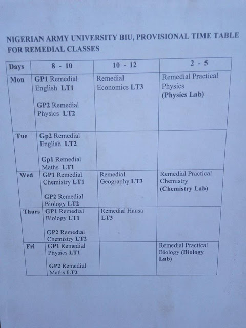 NAUB Remedial Provisional Lecture Time-Table 2018/2019