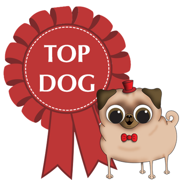 Cartoon-dog-wearing-top-hat-with-top-dog-rosette