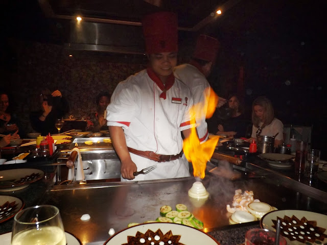 Benihana Teppan-yaki chef steaming onion