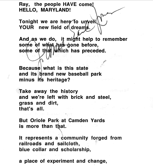 Good Opening Quotes For Speeches: Behind The Scenes For The Opening Of Oriole Park
