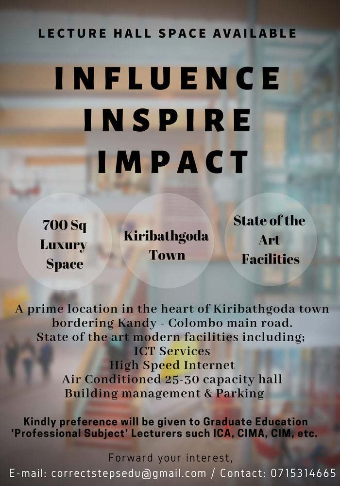 Lecturer Hall Space Available in Kiribathgoda.