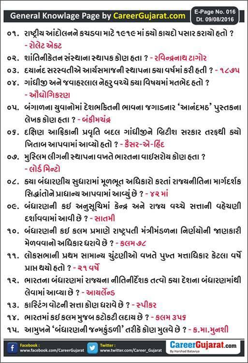 Career Gujarat General Knowledge Page - Dt. 09/08/2016