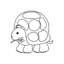Cute Turtle Holding Flower Coloring Pages