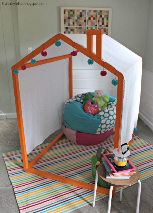 diy kids playhouse frame with canopy