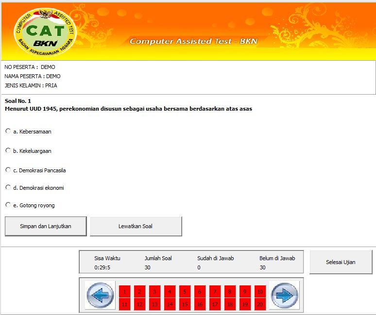 UNDUH APLIKASI SIMULASI CAT (COMPUTER ASSISTED TEST) BKN OFFLINE